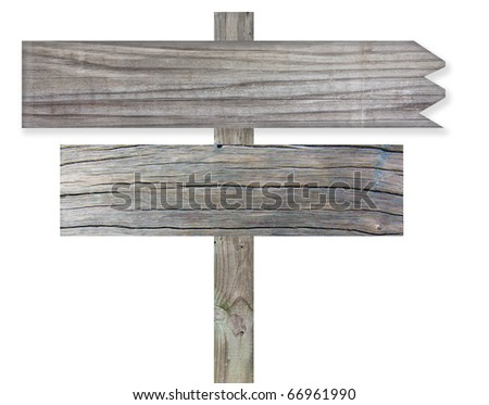 Old wooden sign over white background