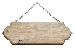 Old wooden sign with chain isolated on white background