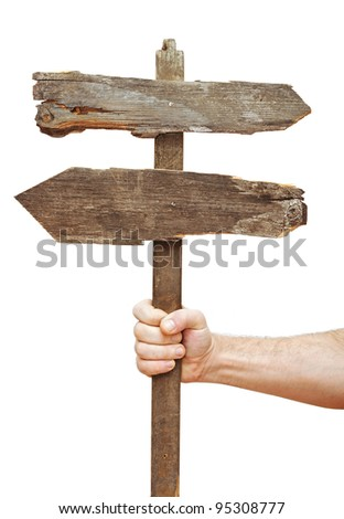 Old wooden signpost on hand isolate on white