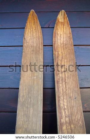Old wooden ski