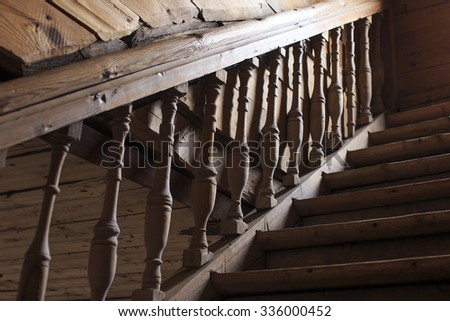 old wooden staircase railing. handrails, balusters and stair old wooden stairs