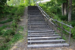 Old wooden stairs in park