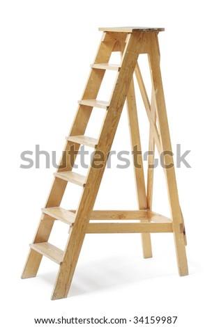 Old wooden stepladder on white