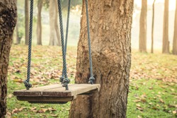 Old wooden swing tied with blue nylon rope. Hanging between two trees In the background of the forest garden