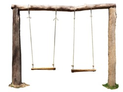 Old wooden swing with white backgound.