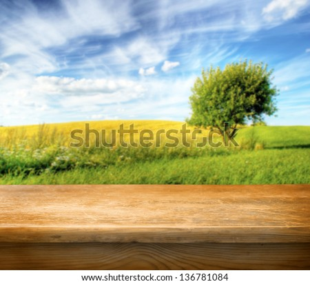 Old wooden table for Your photo montage for Your product display