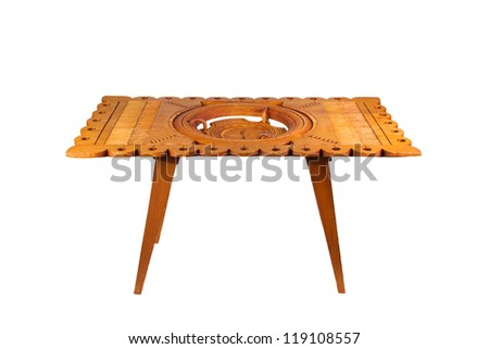 Old wooden table from Suriname, isolated on white