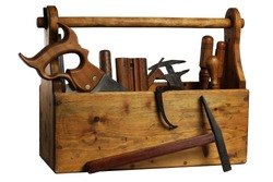 Old Wooden Tool Box Full of Tools Isolated on White Background.