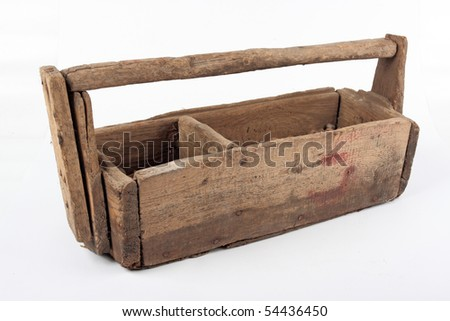 Old wooden toolbox with handle