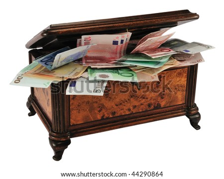 Old wooden treasure chest (or jewelry box) with different Euro, isolated on white.