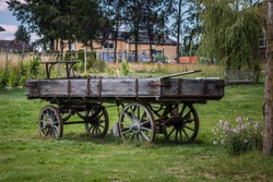 Old wooden wagon for horses or cattle to transport things