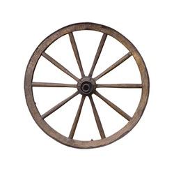 Old wooden wagon wheel on white