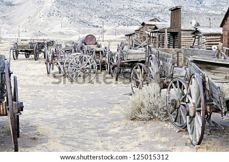 Old Wooden Wagons in a Ghost Town Cody, Wyoming, United States