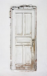 old wooden white door
