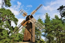Old wooden windmill in Karlstad, Sweden. It is located in the leisure park Leklandet on the hill Marieberg. Scandinavia, Europe.