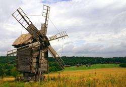 Old wooden windmills at Pirogovo ethnographic museum, near Kyiv, Ukraine