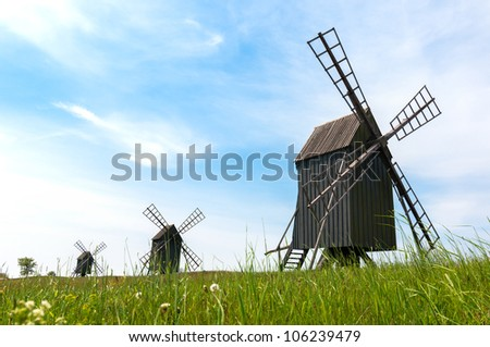 Old wooden windmills near the village Resmo on the island Oland, Sweden