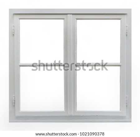 Old wooden window on white background #1021090378