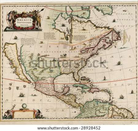 old world map  America Septentrio Nalis, probably dates around early 1600's, showing north america
