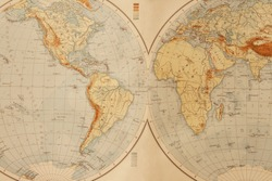 Old world map from 1895.