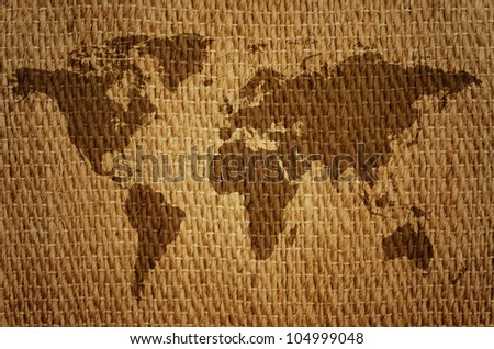 Old world map on a sack.