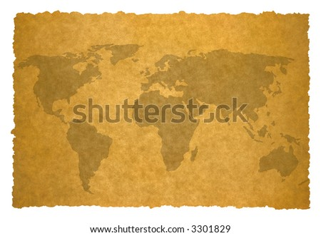 old world map on parchment background.