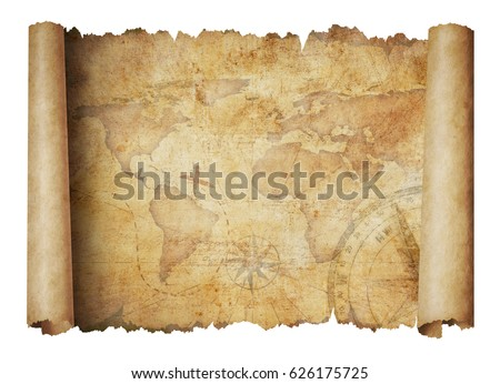 old world scroll map isolated...