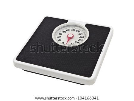 Old, worn, bathroom scale isolated on white.