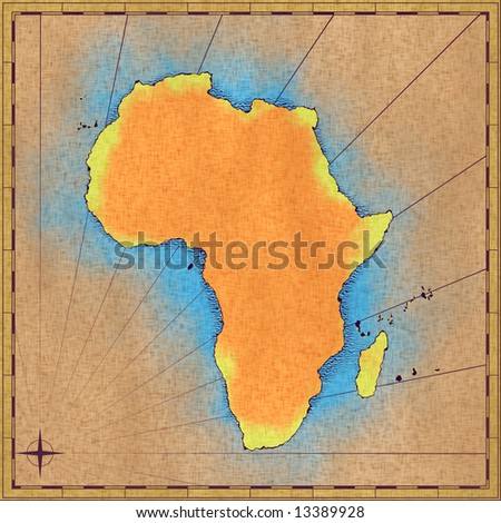 Old worn out map of Africa (approximate hand drawn)