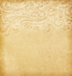 Old worn paper with floral border