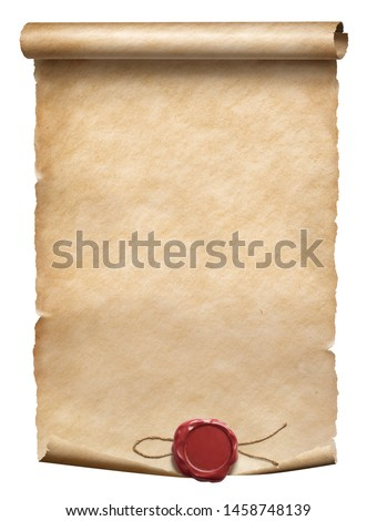 Old worn parchment scroll with red wax seal isolated on white