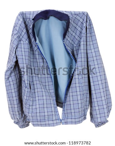 Old worn rural village checkered  dark blue cotton mass production jacket. Isolated with patch