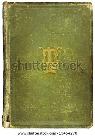 Old worn vintage book with copy-space for your own text. Musical symbol on cover.