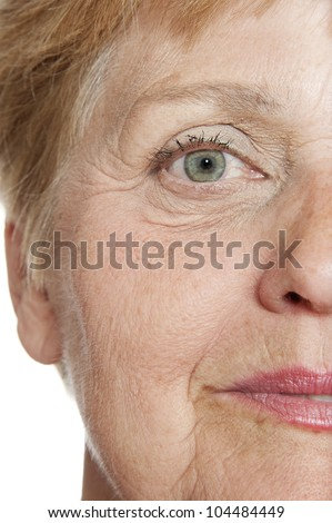 old wrinkled face close up