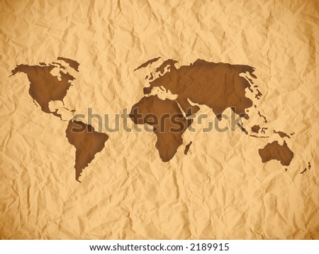 Old wrinkled paper sheet. Old paper texture with world map.