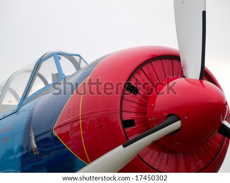 Old WW2 propeller fighter aircraft nose close-up