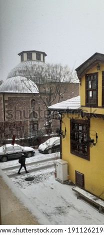 Old yellow building and historical place  Stok fotoğraf ©