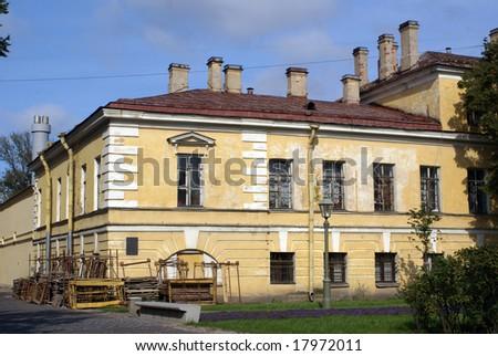Old yellow building in Petropavlovskaya krepost, St-Petersburg, Russia