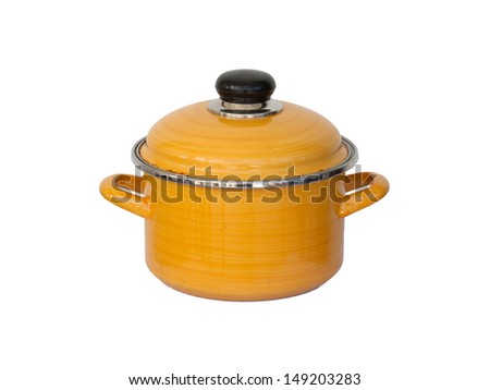Old yellow metal cooking pot isolated on white