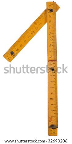 old yellow ruler forming font symbols 1 Stock fotó ©