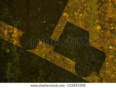 Old yellow rusted steep grade hill traffic sign. Background close-up photo.