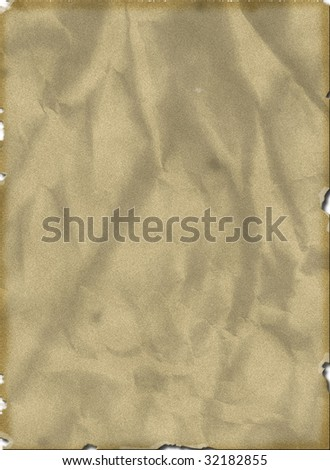 Old yellowish blank page with torn edges