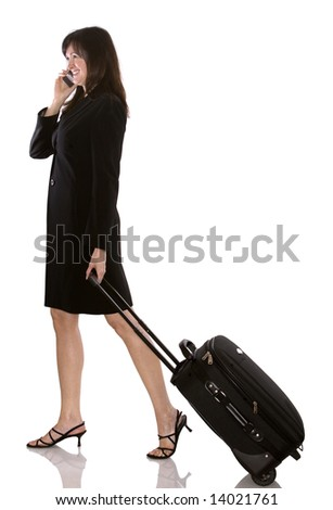older business woman with luggage on white background