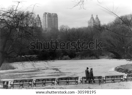 Older couple strolling in Central Park - New York, NY