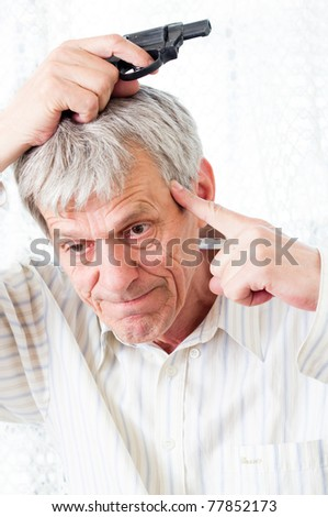 Older hoary man trying to suicide