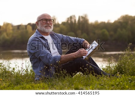 older man have good time in the park