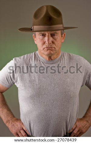 Older man posed as drill instructor.