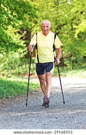 Older Senior Nordic walking for better fitness