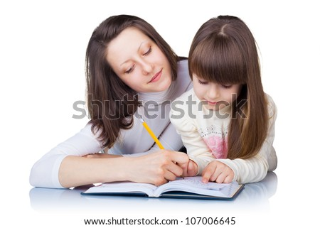 Older sister helps younger homework isolated on white background