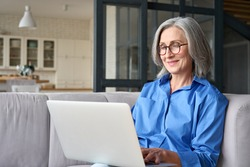 Older smiling 60s woman sitting at home on sofa, holding laptop. Senior happy business woman using pc technologies, working, chatting, spending time in social media internet, ecommerce.